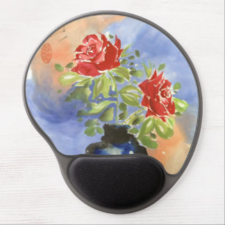 Red Chinese Roses Art Mousepad Gel Mouse Pad