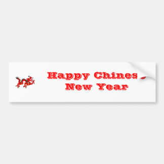 Red Chinese Style Dragon Bumper Sticker