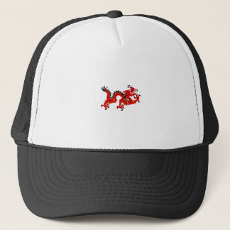 Red Chinese Style Dragon Trucker Hat