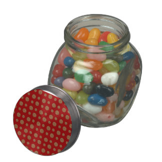 Red chocolate chip cookies pattern glass candy jar