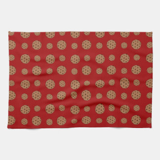 Red chocolate chip cookies pattern kitchen towel