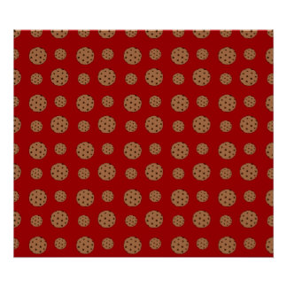 Red chocolate chip cookies pattern poster