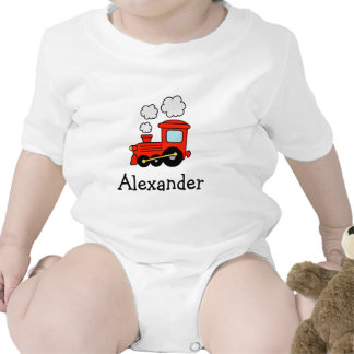Red choo choo train toy jumpsuit for boys rompers