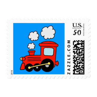 Red choo choo train toy postage stamps