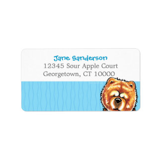 Red Chow Chow Carribean Stripes Label