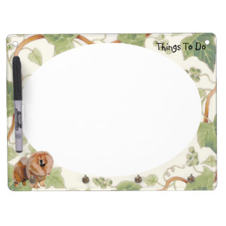 Red Chow Chow with Ivy Dry Erase Board With Keychain Holder