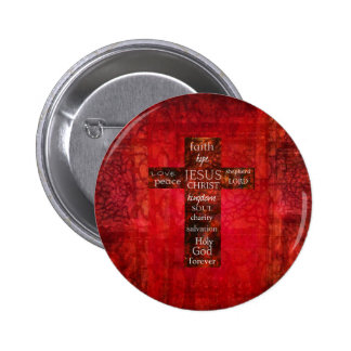 Red Christian Cross Contemporary Religious Art Pinback Buttons