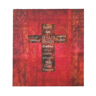 Red Christian Cross Contemporary Religious Art Scratch Pad