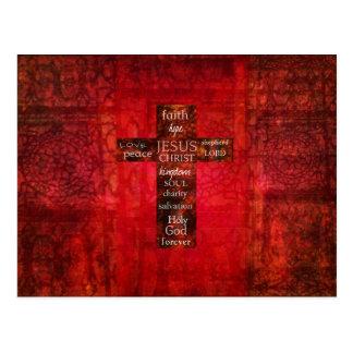 Red Christian Cross Contemporary Religious Art Postcard