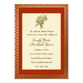 Red Christian Cross Lilies Wedding Invitation