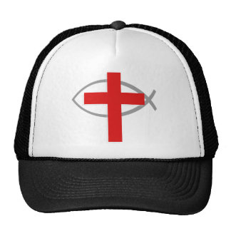 Red Christian Cross With the Jesus Fish Ichthys Mesh Hat