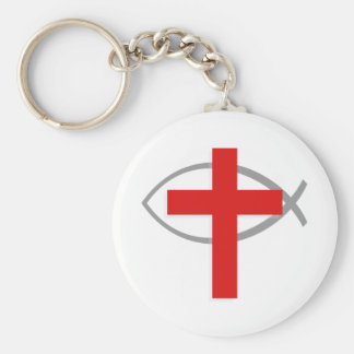 Red Christian Cross With the Jesus Fish Ichthys Basic Round Button Keychain