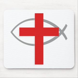 Red Christian Cross With the Jesus Fish Ichthys Mouse Pad