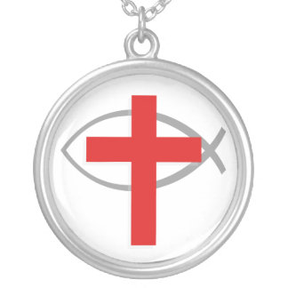 Red Christian Cross With the Jesus Fish Ichthys Jewelry
