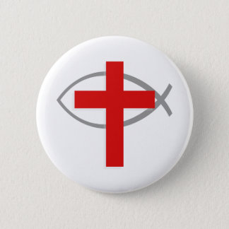 Red Christian Cross With the Jesus Fish Ichthys Pinback Button