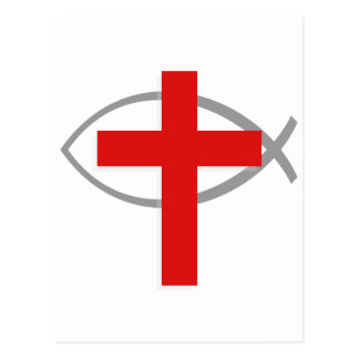 Red Christian Cross With the Jesus Fish Ichthys Postcard