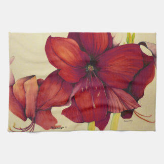 Red Christmas Amaryllis Kitchen Towels
