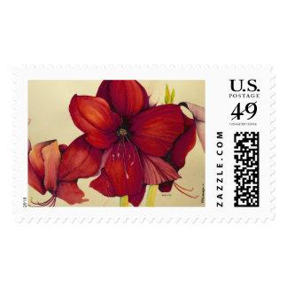 Red Christmas Amaryllis Postage Stamp