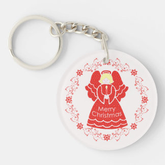 Red Christmas Angel Keychain