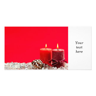 Red Christmas background with candles Photo Card Template