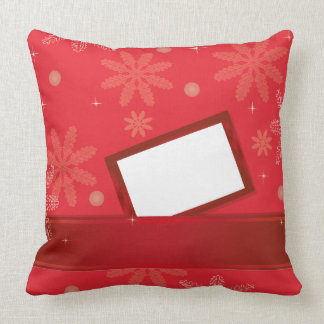 red christmas background with greeting card pillow