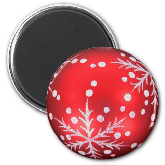 Red Christmas ball magnet with snow crystal