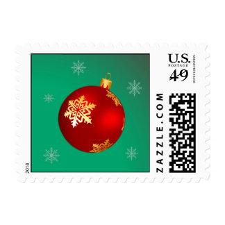 Red Christmas ball Postage Stamps