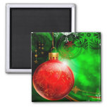 Red Christmas Ball Refrigerator Magnets
