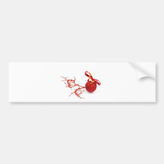 Red christmas ball with twig on white background bumper sticker