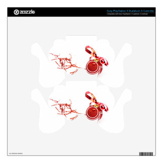 Red christmas ball with twig on white background PS3 controller decal