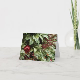 Red Christmas Ball With Variegated Leaves Card