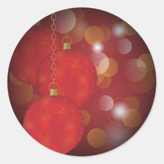 Red Christmas Balls Classic Round Sticker