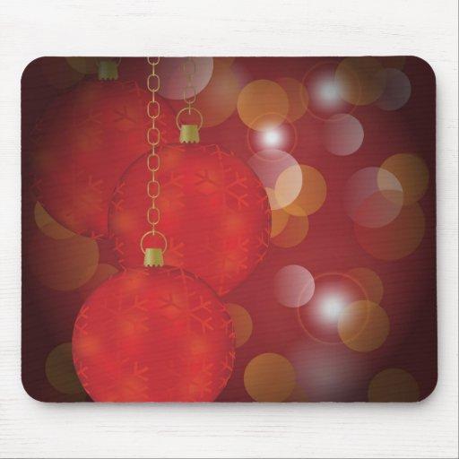 Red Christmas Balls Mouse Pad
