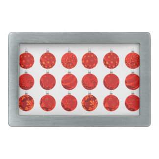 Red Christmas Balls on apparel and gifts Rectangular Belt Buckle