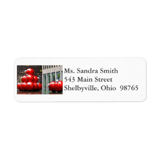 Red Christmas Balls Return Address Labels
