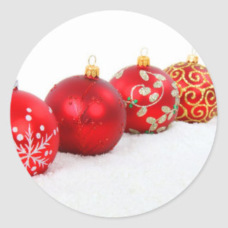 Red Christmas Balls Round Stickers