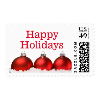 Red christmas balls with snow postage