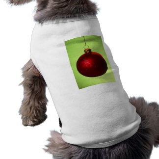 Red Christmas Bauble Doggie Tshirt
