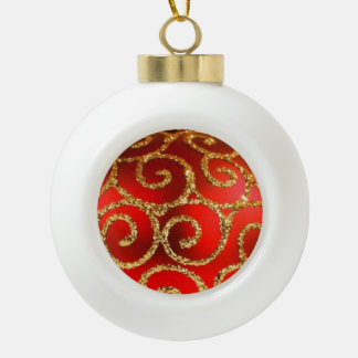 Red Christmas Bauble on Gold Ceramic Ball Christmas Ornament