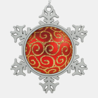 Red Christmas Bauble on Gold Snowflake Pewter Christmas Ornament