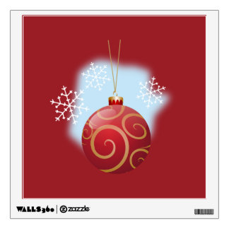 Red Christmas Bauble & Snowflakes Wall Decal