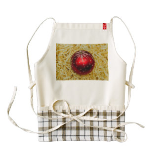 Red Christmas bauble Zazzle HEART Apron