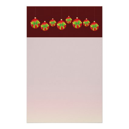 Red Christmas Baubles Customized Stationery