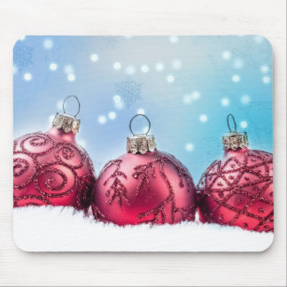 Red Christmas baubles Mouse Pad