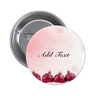Red Christmas Baubles template Pinback Button