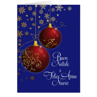 red Christmas baubles with Italian greeting Card
