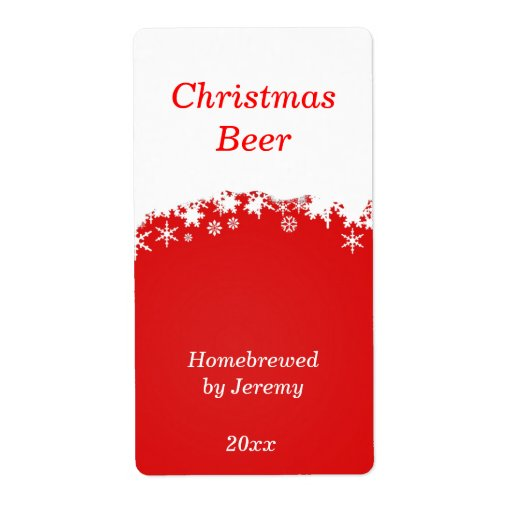 Red Christmas Beer Label Shipping Label
