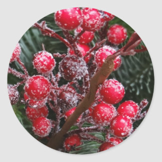 Red Christmas Berries Classic Round Sticker