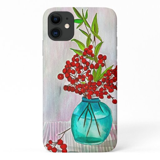 Red Christmas Berries watercolor fine art iPhone 11 Case