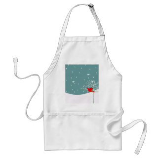 Red Christmas Bird Adult Apron